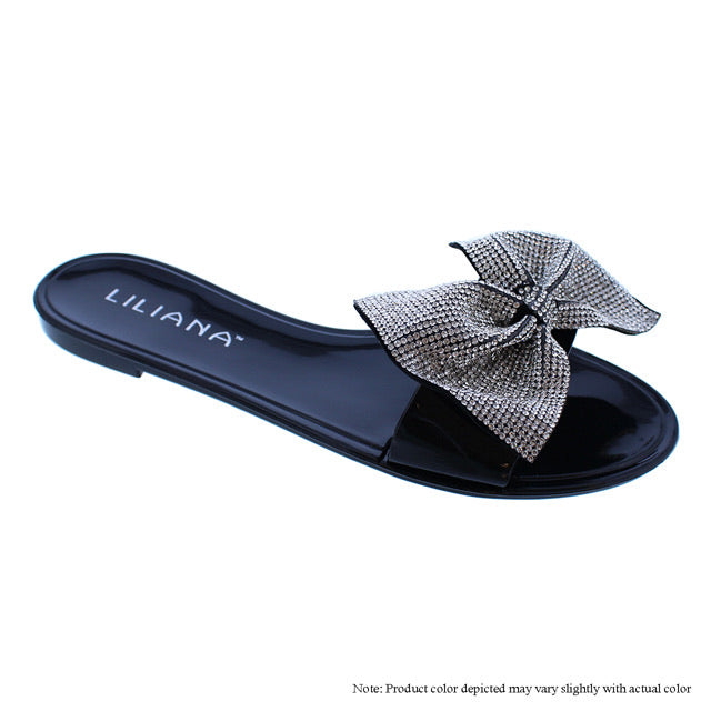 Bling Bow Sandal -Black - The House of Stylez