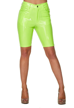 Latex Bermuda Shorts - Lime - The House of Stylez