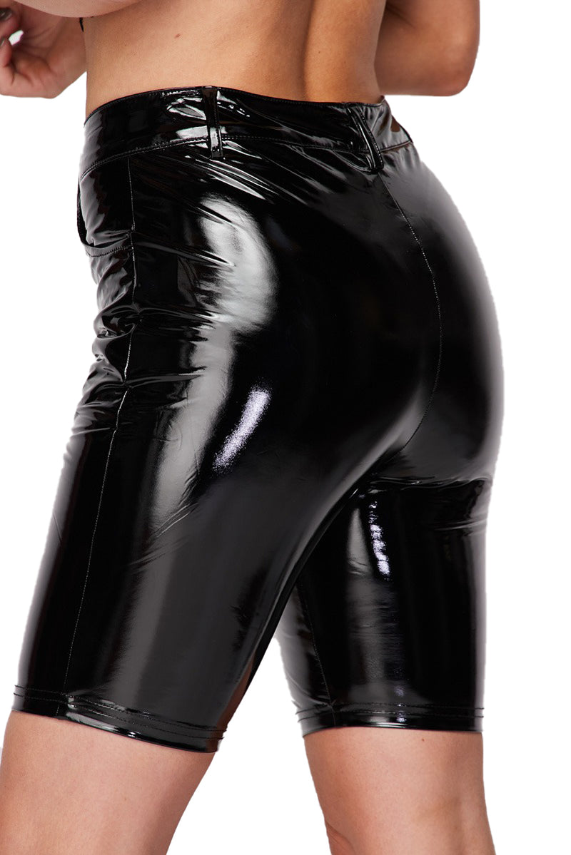 Latex Bermuda Shorts - Black - The House of Stylez