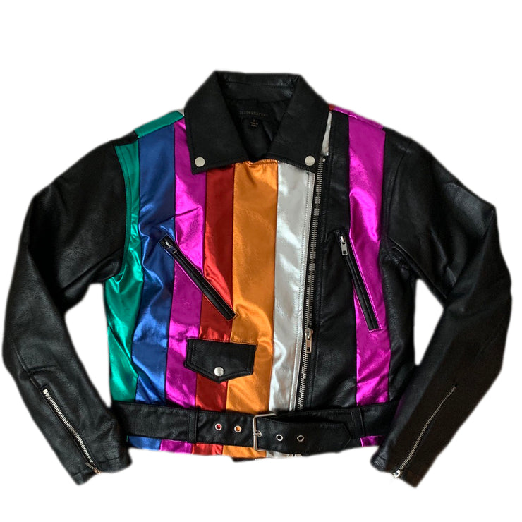 The Multi Color Metallic Motorcycle Jacket - The House of Stylez