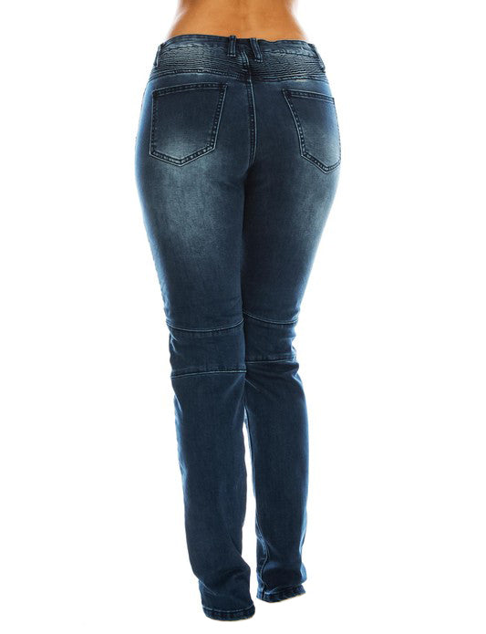 Curvy Denim Moto Style Jeans - The House of Stylez