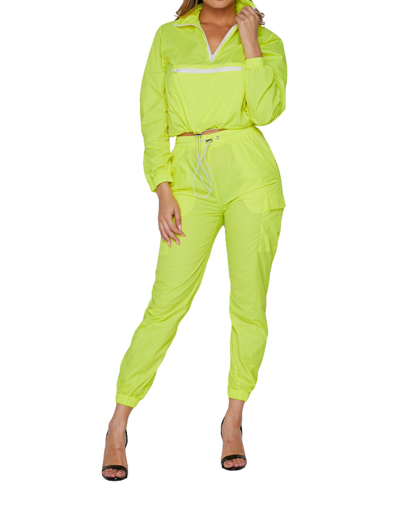 2 PC Track Suit - Neon Yellow - The House of Stylez