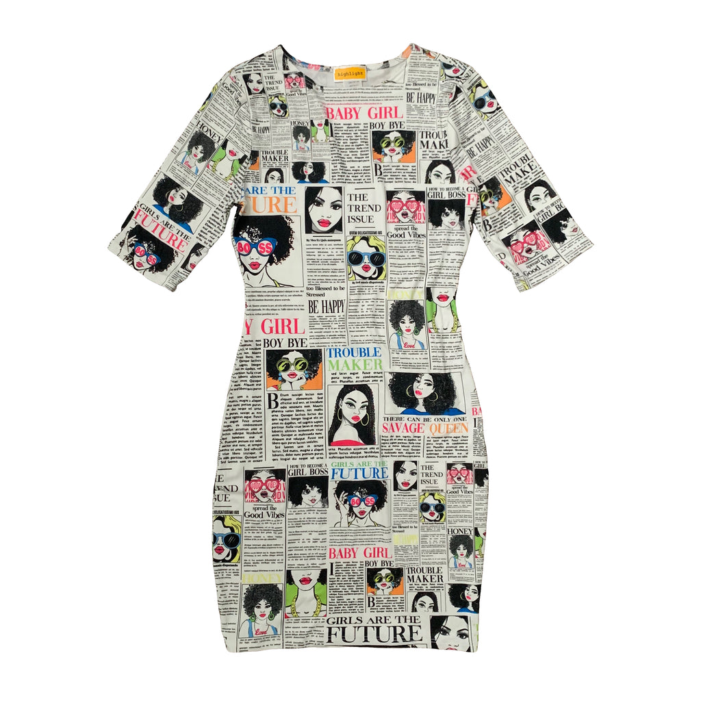 Newspaper Print Dress - The House of Stylez