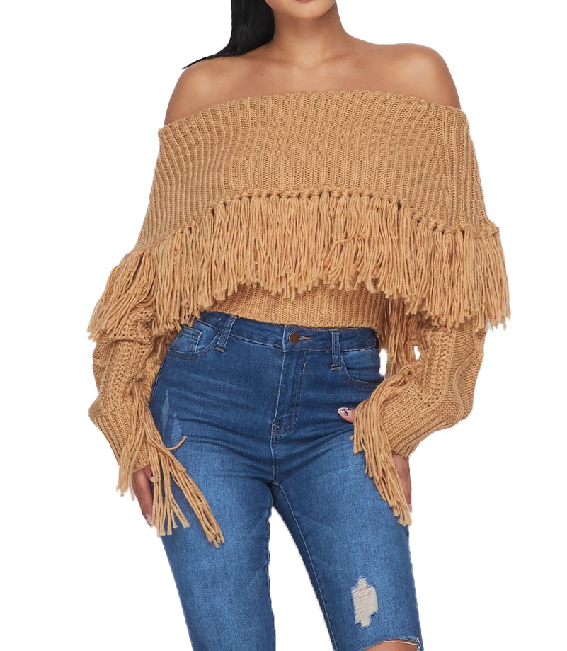 Off the Shoulder Fringe Long Sleeve Sweater - {2 Colors Available} - The House of Stylez