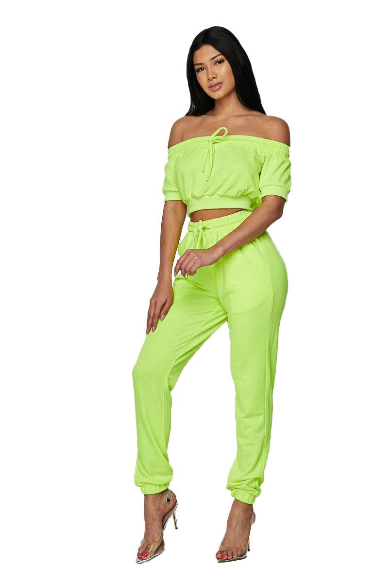 2 PC Off The Shoulder Sweat Suit - Neon Lime - The House of Stylez