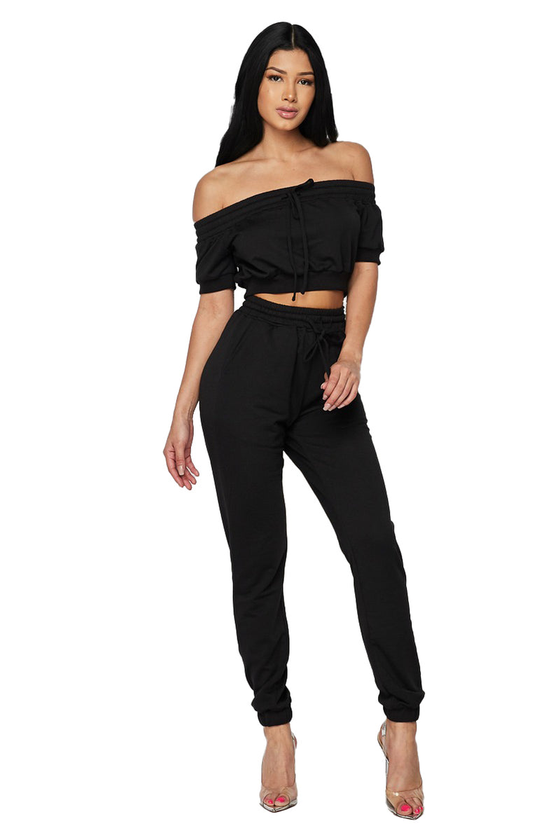 2 PC Off The Shoulder Sweat Suit - Black - The House of Stylez