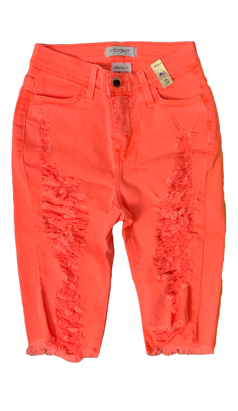 Neon One Sided Extreme Distressed Bermuda Shorts -{ 2 Colors Available } - The House of Stylez