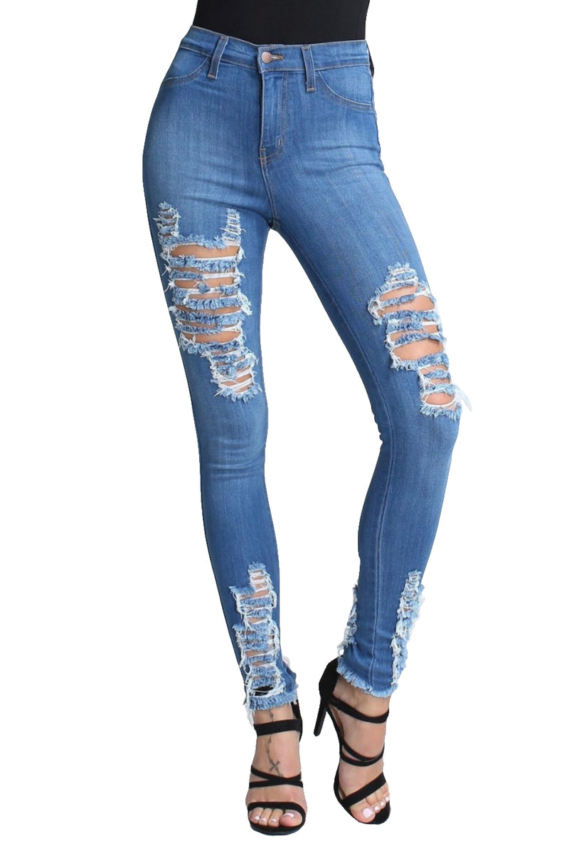 {{P1209}} Morgan Distressed Bottom Skinny Jeans