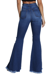 {P1755} Blue Denim Distressed Flare Leg Jeans - The House of Stylez