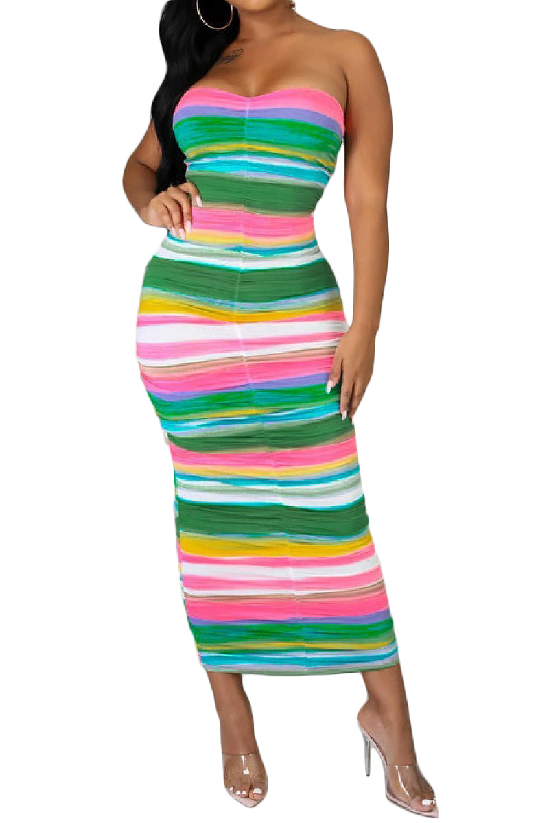 Striped Ruched Tube Dress - The House of Stylez