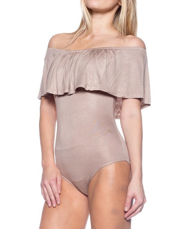 Ruffle Off The Shoulder Bodysuit (Three Colors Available)