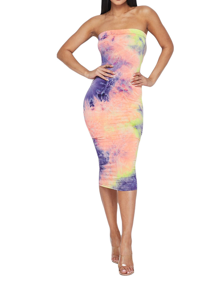 Tie Dye Tube Dress - Neon Yellow/Orange/Purple