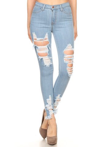 Blue Distressed Bottom Jeans