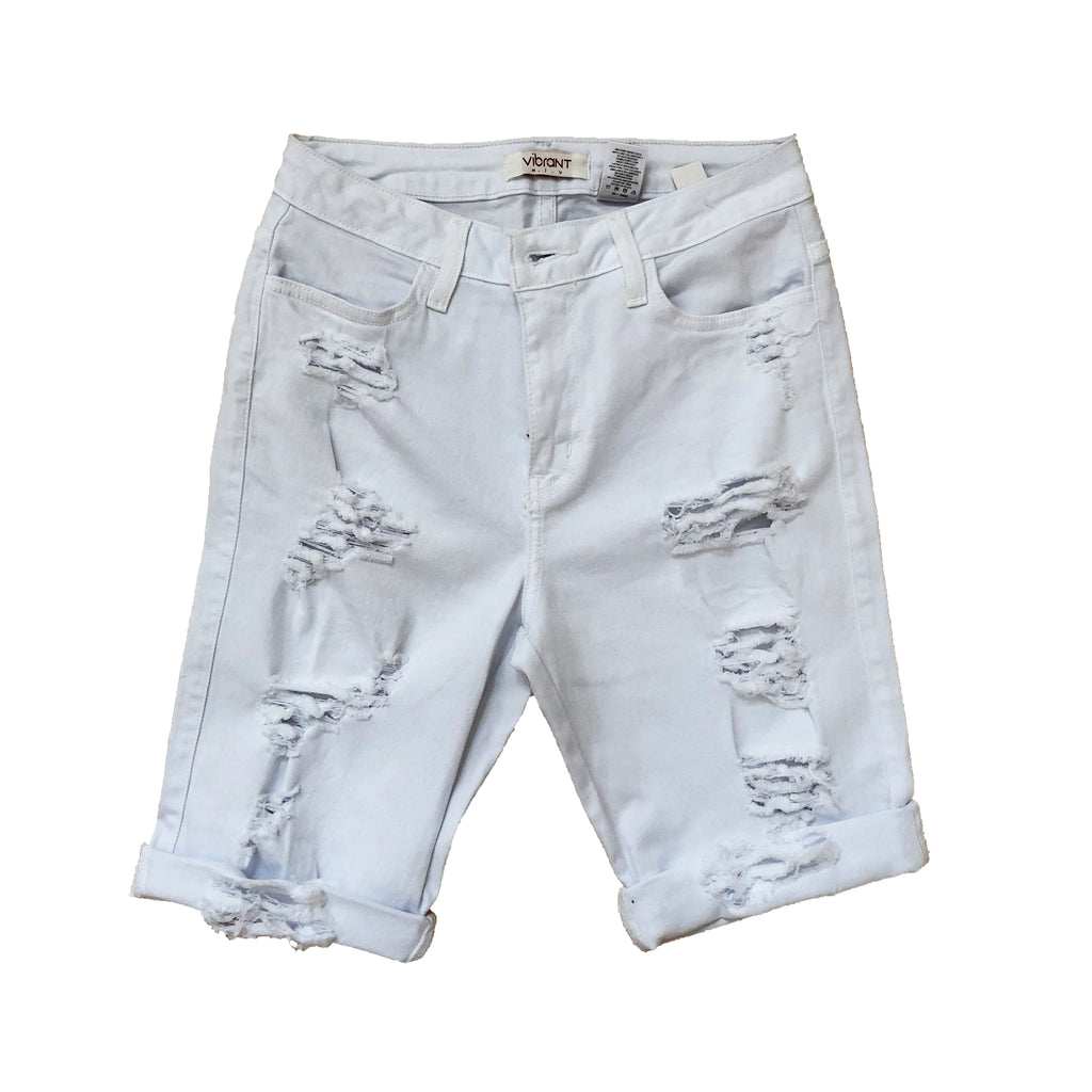 Cuffed Distressed Bermuda Shorts - White  (Short Cuffs can roll down) - The House of Stylez