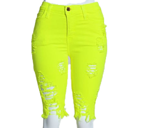 Neon One Sided  Distressed Bermuda Shorts -Yellow - The House of Stylez