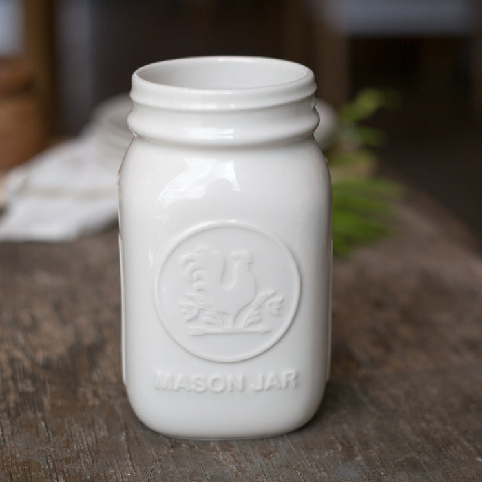 Mason Jar White Quart