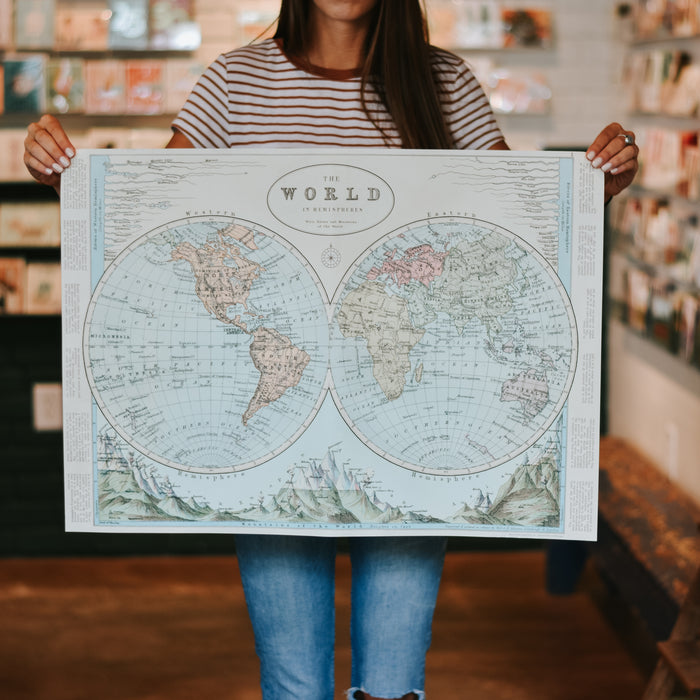Hemisphere World Map Wrap Sheet