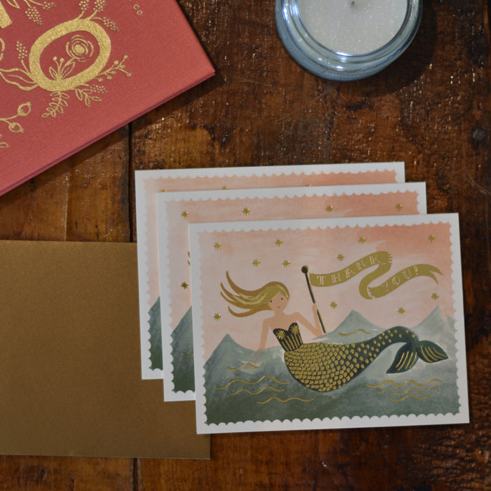 Vintage Mermaid Thank You Boxed Note