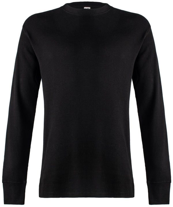 Waffle-Knit Thermal Long Sleeve Black