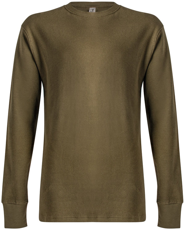 Waffle-Knit Thermal Long Sleeve Olive