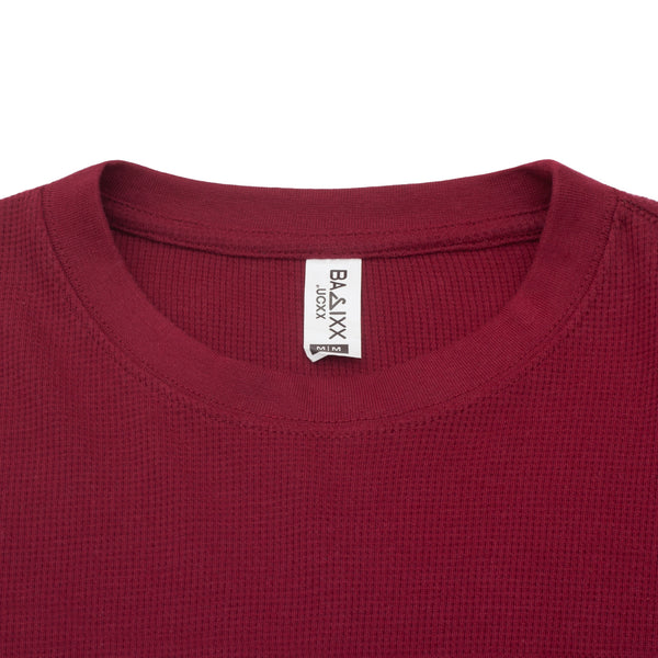 Waffle-Knit Thermal Long Sleeve Burgundy