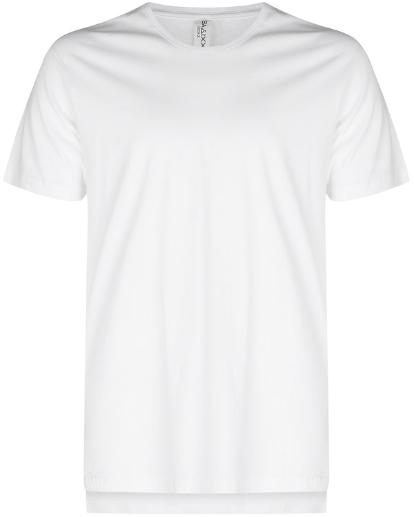 Basic Elongated Hi Low T-Shirt White