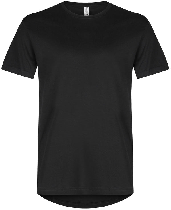 Basic Elongated Straight Scoop T-Shirt Black