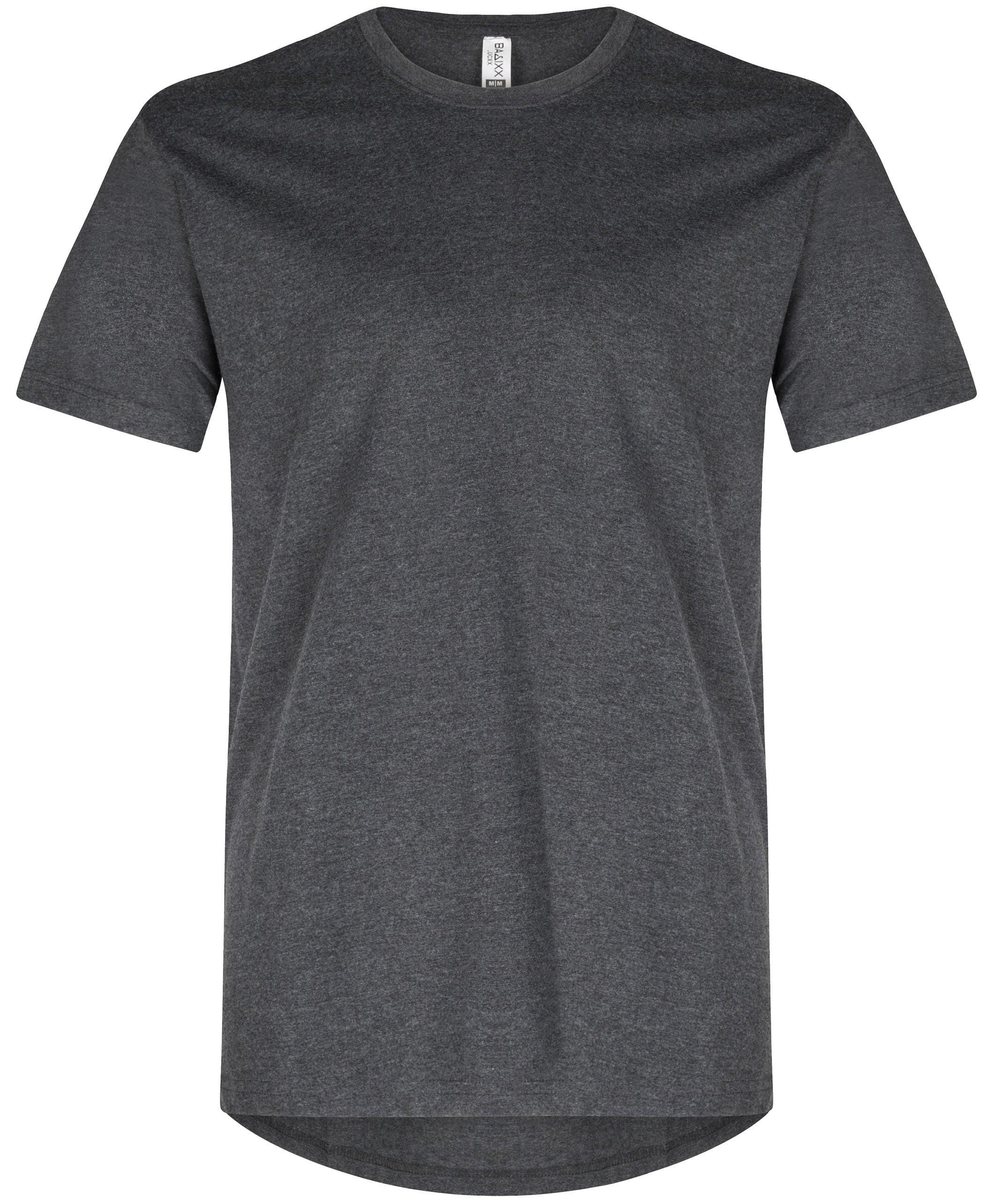 Basic Elongated Straight Scoop T-Shirt Heather Black