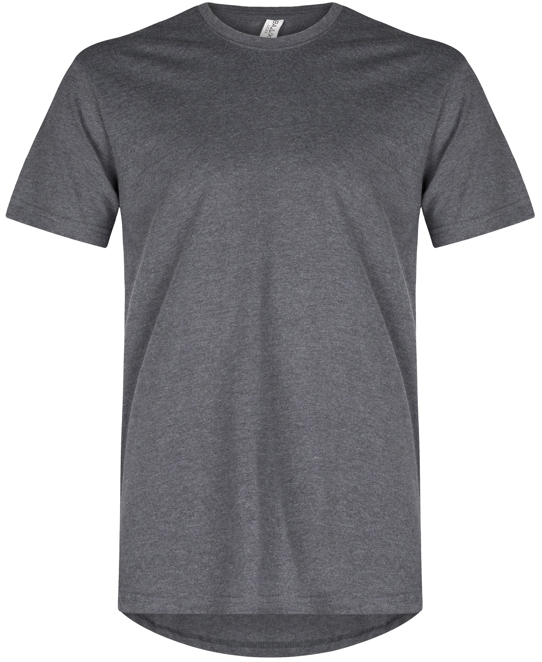 Basic Elongated Straight Scoop T-Shirt Heather Charcoal