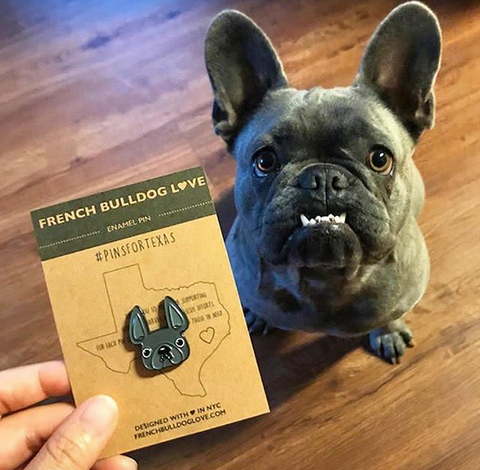 French Bulldog Pins Hurricane Harvey PinsForTexas