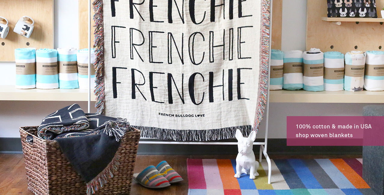 French Bulldog Woven Blanket