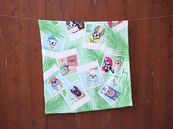 French Bulldog Love Summer Collection Snapshots Blanket