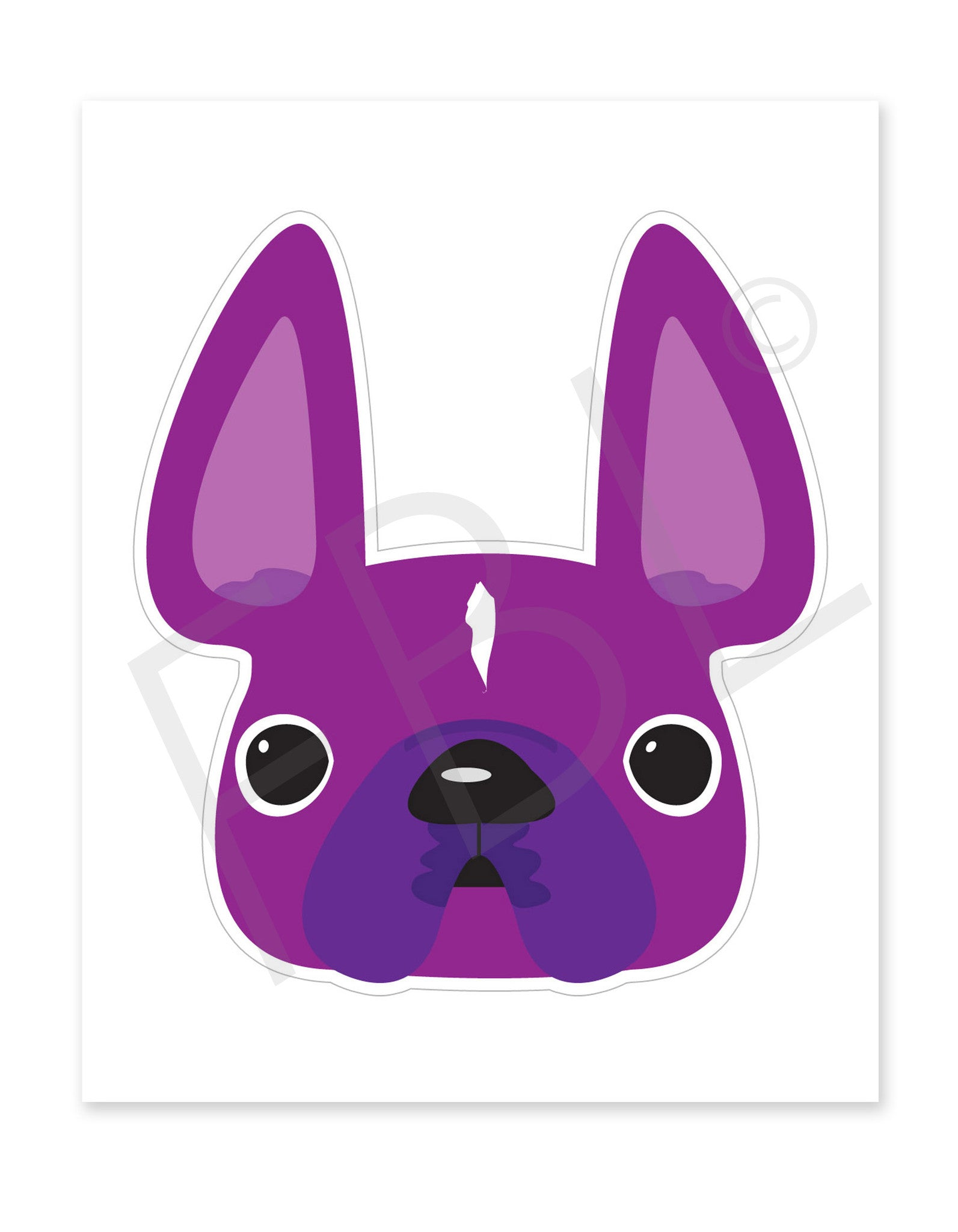 Violet / Large French Bulldog Sticker