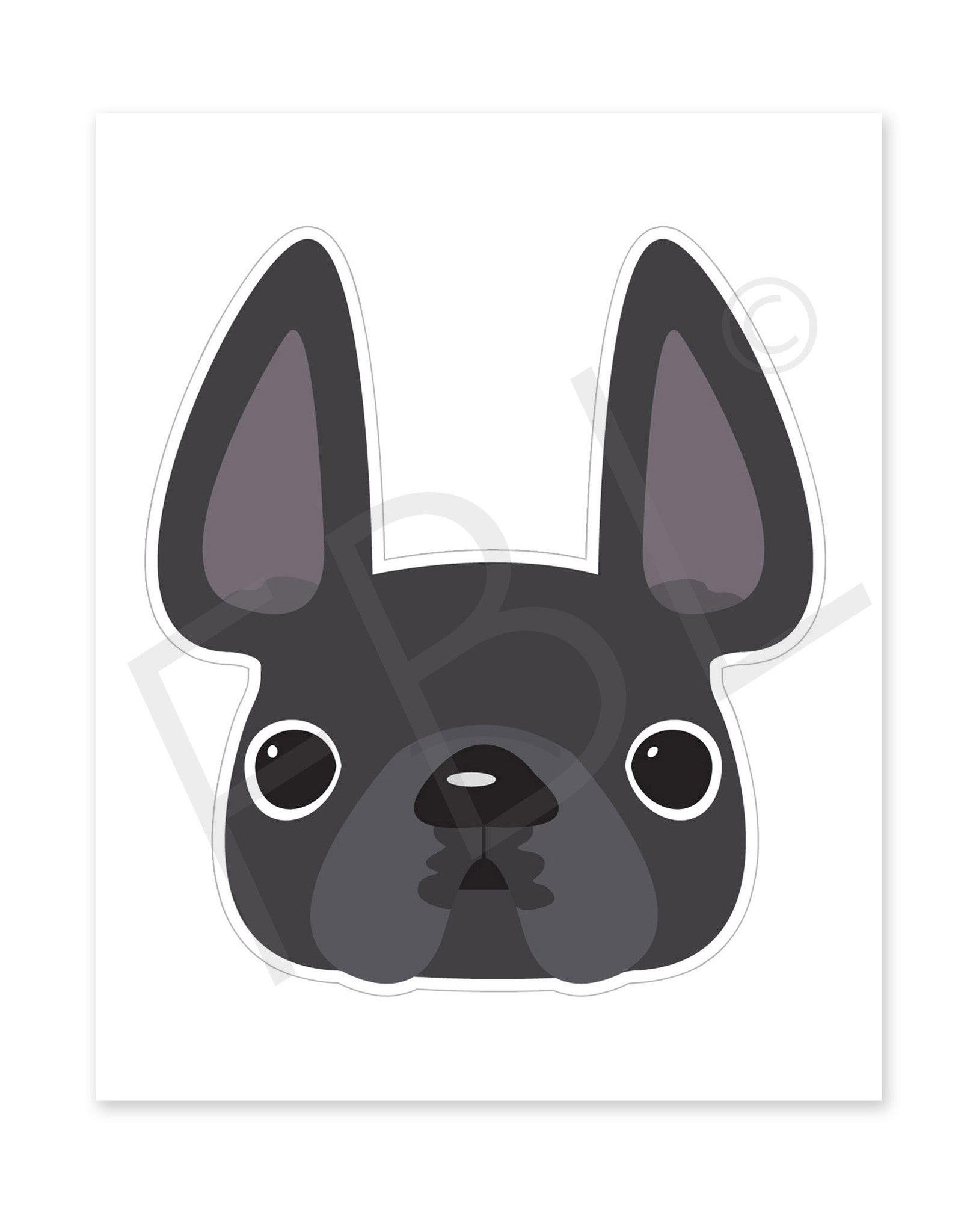 Grey / Large French Bulldog Sticker
