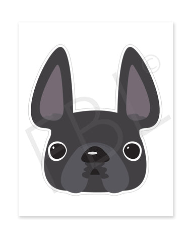 Grey / Large French Bulldog Sticker - French Bulldog Love