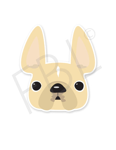 Cream w White Stripe / French Bulldog Mini Sticker - French Bulldog Love - 1