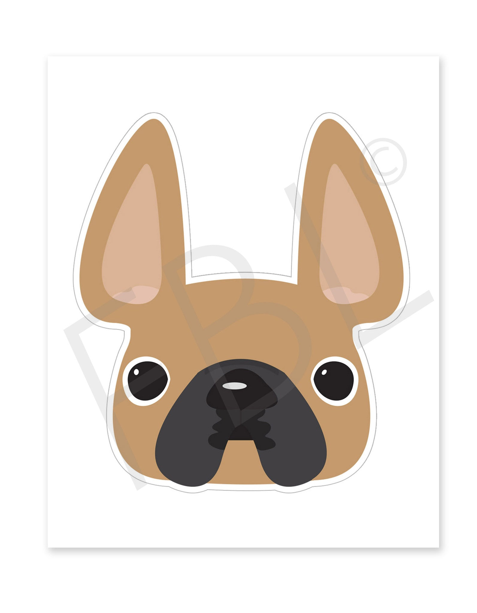 Fawn / Large French Bulldog Sticker