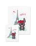 Bonjour/Merci 12 Card French Bulldog Eiffel Tower Set - French Bulldog Love - 12