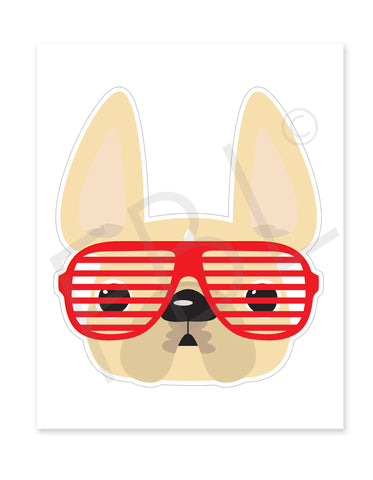 Cream w Red Shades / Large French Bulldog Sticker - French Bulldog Love