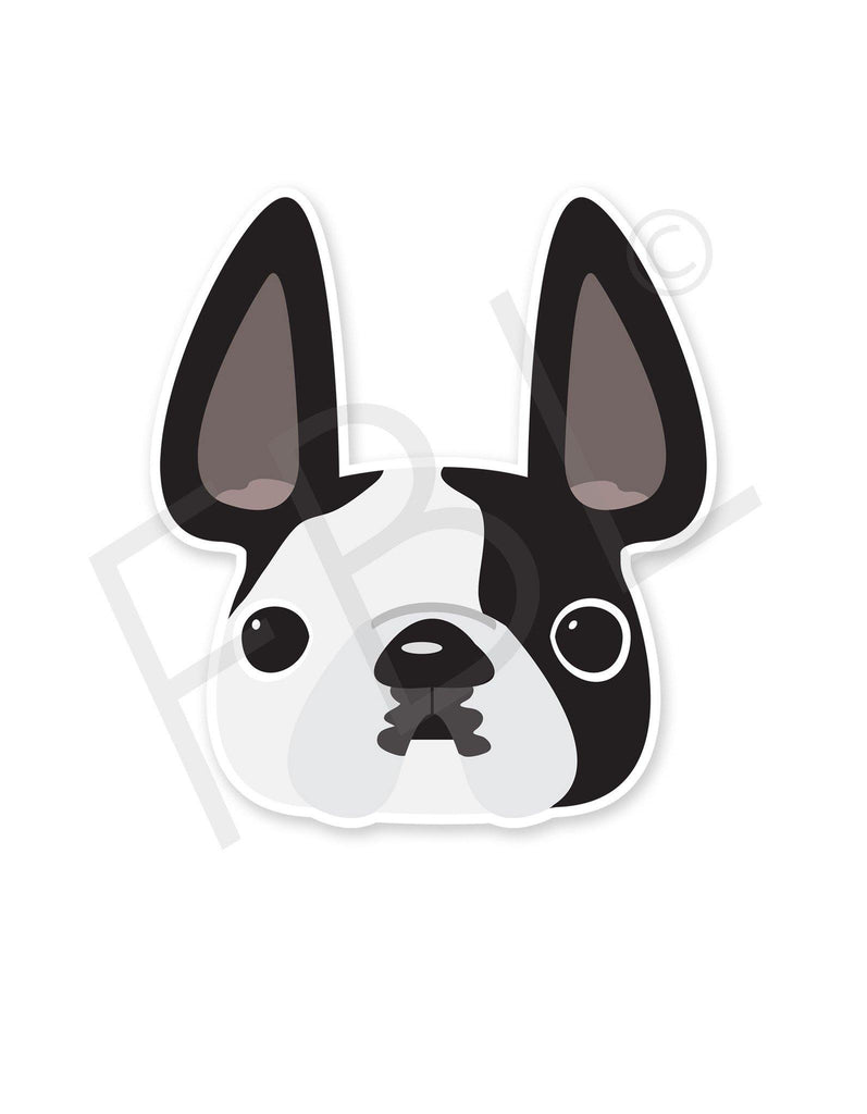 Black Pied / French Bulldog Mini Sticker - French Bulldog Love - 1