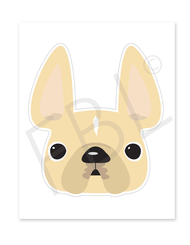 Cream w White Stripe / Large French Bulldog Sticker - French Bulldog Love