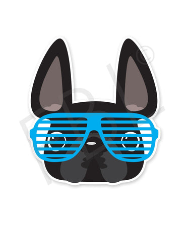 Black w Blue Shades / French Bulldog Mini Sticker - French Bulldog Love - 1