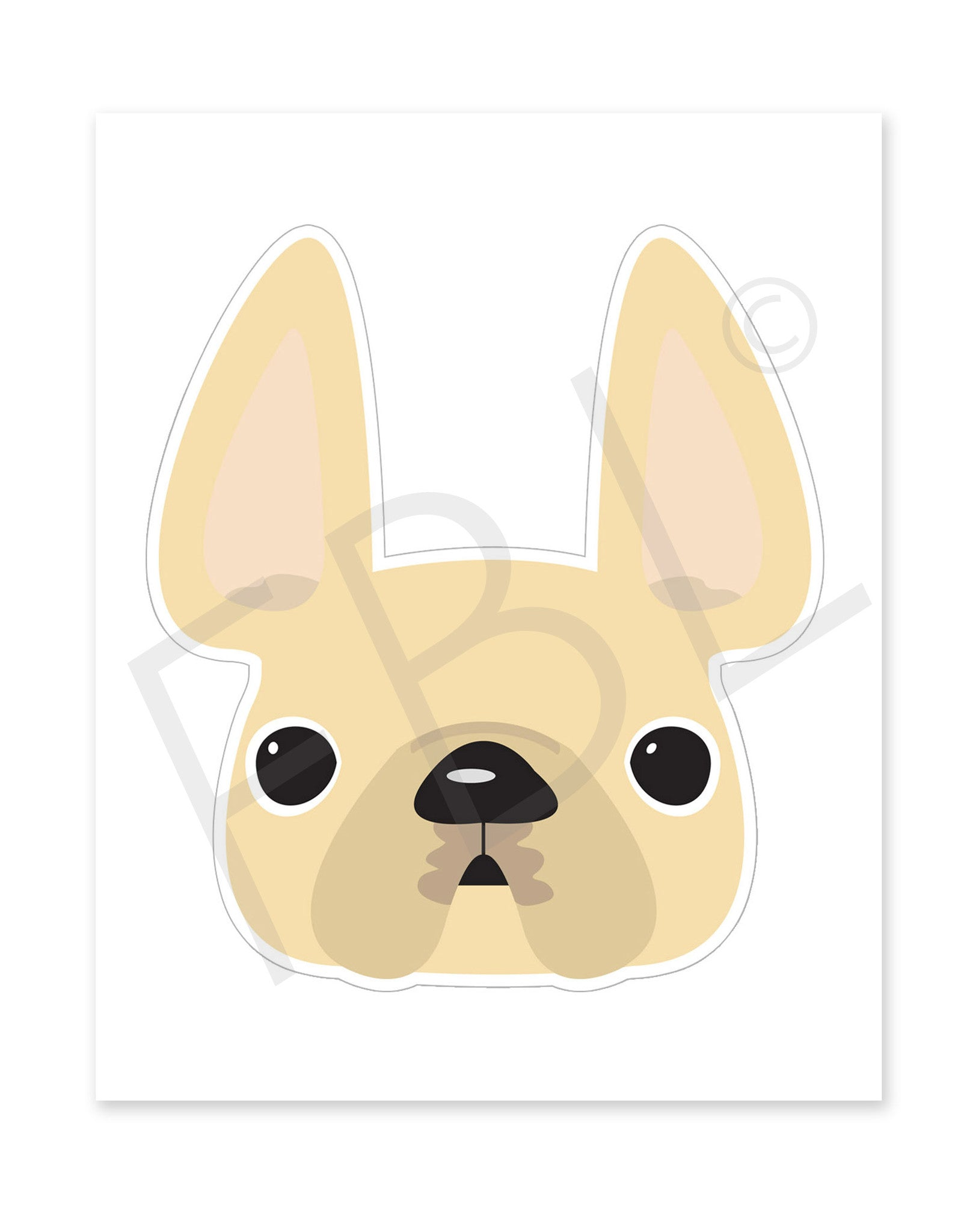 Cream / Large French Bulldog Sticker