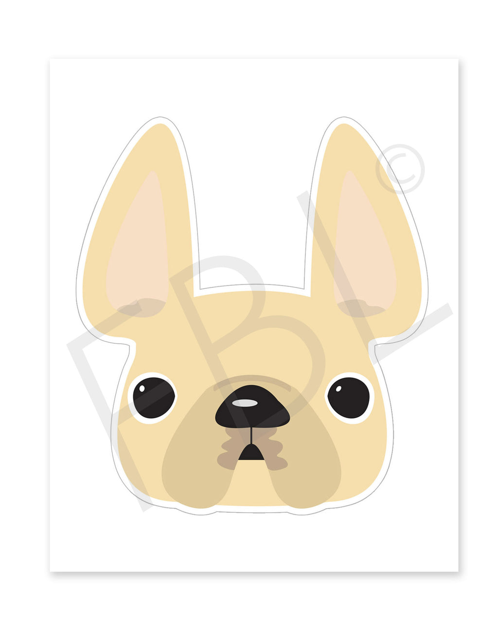 Cream / Large French Bulldog Sticker - French Bulldog Love