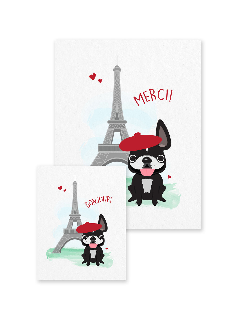 Bonjour/Merci 12 Card French Bulldog Eiffel Tower Set - French Bulldog Love - 15
