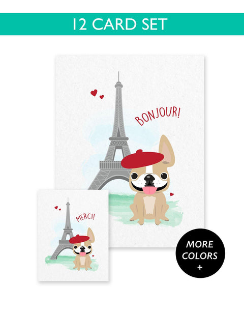 Bonjour/Merci 12 Card French Bulldog Eiffel Tower Set - French Bulldog Love - 1