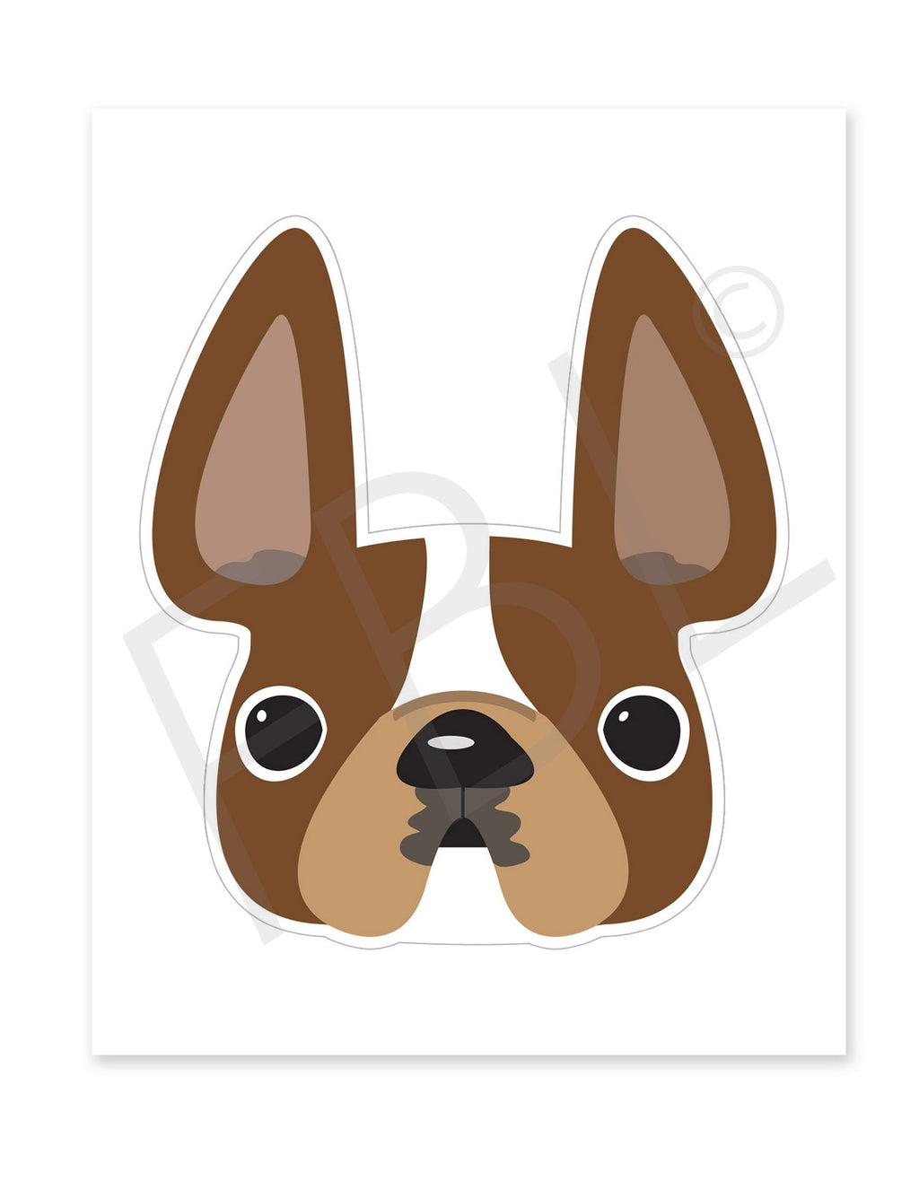 Brown Pied / Large French Bulldog Sticker - French Bulldog Love