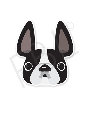 Black & White Pied / French Bulldog Mini Sticker - French Bulldog Love - 1