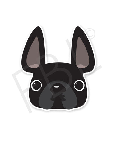 Black / French Bulldog Mini Sticker - French Bulldog Love - 1