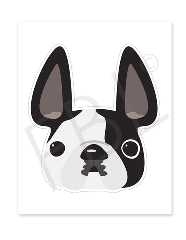 Black Pied / Large French Bulldog Sticker - French Bulldog Love